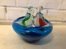Vintage Hand Blown Glass Ashtray with Bird Decorations