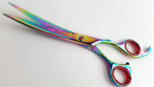 "7"" Pets Grooming scissors Dog Cat Scissor pets cutting shear curved TITANIUM"