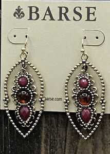 Barse Cleo Earrings- Raspberry Quartz & Amber- New With Tags