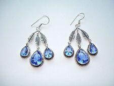 AB Violet-Blue Iolite Triple Feather Dangle 925 Silver Hook Earrings Dangle 2.75