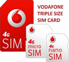 New Vodaphone UK Pay As You Go PAYG Standard, Micro & Nano Triple Sim Card Pack