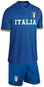 Italien Kinder Trikot Set Fußball Fan Zweiteiler Blau Größe 164
