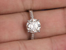 14K Real White Gold Rings 1.57 Carat Round Diamond Engagement Ring Size M N O P