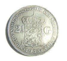 1933 The Netherlands 2.5 Guilder Queen Wilhelmina Silver Coin