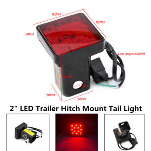 "2"" 12V Trailer Hitch Mount Tail Red Light Part 12LED Tow Bar Lamp Turck W/Pin"