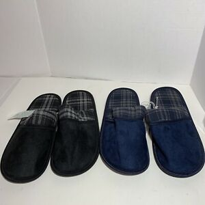 Mens Slip-On Slippers Available In Blue Or Black Plaid Sizes 9-13. House Shoe.