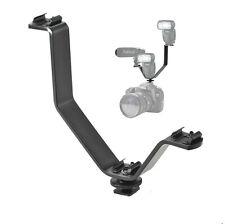 V Shape Triple Mount Hot Shoe Bracket for Photo Video Camera Light Camcorder Mic
