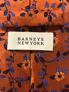 Barneys New York Men's Orange Blue Floral Silk Neck Tie $95