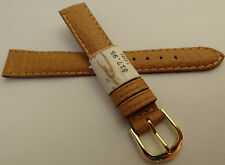 New ZRC Made in France Natural Pigskin 14mm Watch Band Gold Tone Buckle $17.95