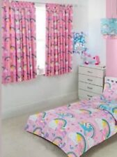 RAINBOW & UNICORN PINK TAB TOP CURTAINS FULLY LINED 66W X 54D TIE BACKS 🌈