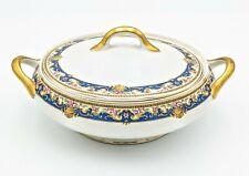 Tressemanes Vogt TV Limoges Blue Gold Floral Rose Covered Vegetable Serving Bowl
