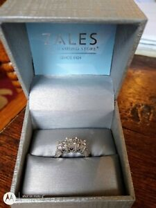 1ct 14k White Gold 3 Stone Diamond Past Present Future Engagement Ring