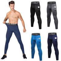 US Men Tight Pants with pockets Gym Fitness Leggings Compression Sports Skinny
