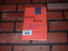 Genuine ROVER 3 LITRI libero servizio certificati e i programmi di manutenzione. 1961