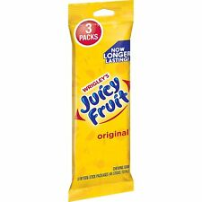 NEW SEALED WRIGLEYS JUICY FRUIT ORIGINAL GUM 3 PACKS FIFTEEN STICK PACKAGES