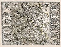 MAP 1610 SPEED WALES MAJOR PLACES INSET PICTORIAL REPLICA POSTER PRINT PAM0020