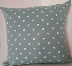 CUSHION COVERS SHABBY N CHIC DUCK EGG AND WHITE POLKA DOT SCATTER CUSHION COVERS