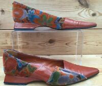 Joaquin Coronel Designer Shoes  Patent leather and Velvet Orange  UK 4 EUR 36.5