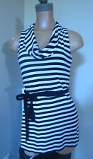 WHITE HOUSE BLACK MARKET Tunic Top Cowl Neck with belt sleeveless striped sz S