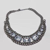 Silver Tone Chunky Clear Rhinestone Heavy Chain Necklace