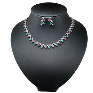 Stunning Cubic Zirconia Emerald Ruby Stand Necklace Earring Set 14 MN 8
