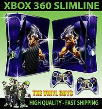 Xbox 360 Slim Aufkleber Wolverine Logan X-Men Mutant Hülle & 2 Controller