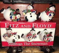 Fitz and Floyd Sullivan the Snowman Tumblers Christmas Decor 3 Piece Set in Box