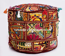 "18"" Home Decorative Round Pouf Cover Cotton Ethnic Indian Patchwork Ottoman Pouf"