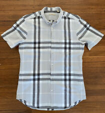 Burberry Brit Linen Signature Nova Check Short Sleeve Button Down Shirt Medium M