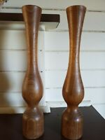 pair of large antique stylish wooden candleholders/candlesticks