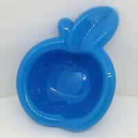 Vintage Fenton Blue Milk Glass Apple Candy Dish Trinket Ring Tray Ashtray