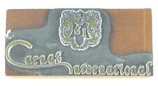 Vintage Printing Slug Block Stamp Carnat International Logo