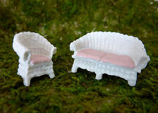 Dollhouse Miniature Fairy Garden Micro HO Scale Wicker Patio Set, 17302