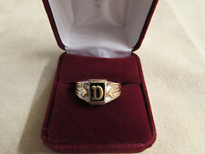 "Initial ""D"" 10KT Yellow Gold Filled Gents Small Finger/Boys Ring W/Genuine Onyx"