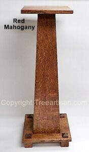 Quarter Sawn Oak Craftsman Mission Pedestal Stand Table 33 Colors