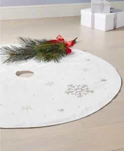 "Holiday Lane Metallic Silver Tone Snowflake Tree Skirt 48"" Dia Approx MSRP $100"