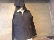 Women's SMALL Denim & Co Quilt stitched - sweater sleeve - hooded jacket NWT