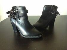 Black Strappy Ankle Boots Booties Chunky Heels Hailee Size 7.5 7 1/2