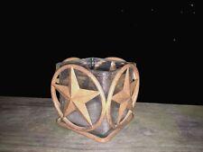 Antique Primitive BARN STAR Yankee Candle Tealight Votive Holder Rustic Folk Art