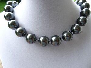 Schöne echte MUSCHELKERNPERLENKETTE Perlenkette anthrazit 12mm Kette Perlen c318