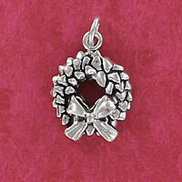 Christmas Wreath Charm Sterling Silver for Bracelet Garland Bow Door Pine NEW
