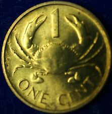 1997 Seychelles One Cent 1c BU Brass Crab Coin