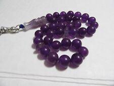 Purple  AGATE aqeeq akik PRAYER BEADS MASBAHA TASBIH 33 beads