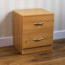Riano Bedside Cabinet Pine 2 Drawer Metal Handles Runners Bedroom Furniture
