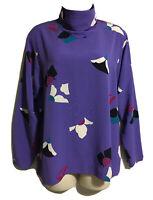 DALTON British Vtg 1980s Artsy Blogger High Neck Top Purple Print Blouse UK 10 S