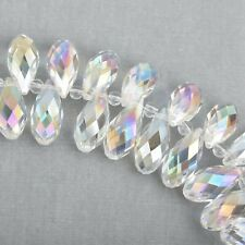 10 Crystal AB Teardrop Briolette Beads, faceted  top drilled  20x10mm bgl0565