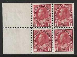 Canada, 1923, Scott #109a, 3c Admiral Booklet Pane of 4, Mint, N.H., Very Fine