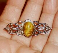 Tiger/'s Eye genuine scarab Sterling Silver pin and earring set