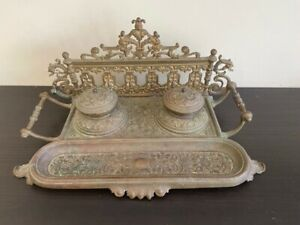 antique brass inkwell