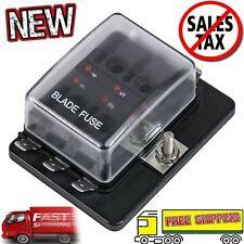 6 Way Fuse Block Holder Box Automotive ATC ATO Blade Led Indicator Cover Car